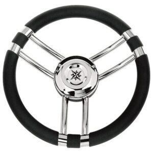 Τιμόνι με Inox Ακτίνες - Μαύρο